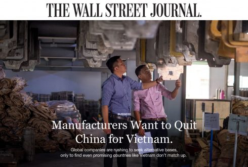 Manufactures Want to Quit China for Vietnam.